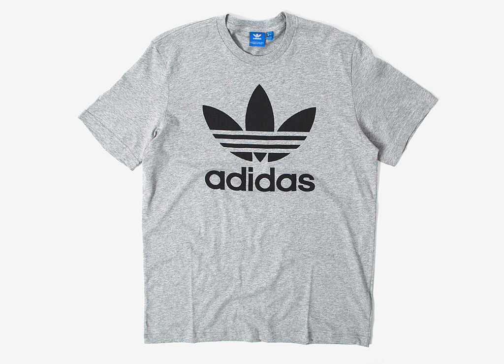 Adidas originals trefoil t shirt medium grey at the chimp for Adidas lotus t shirt