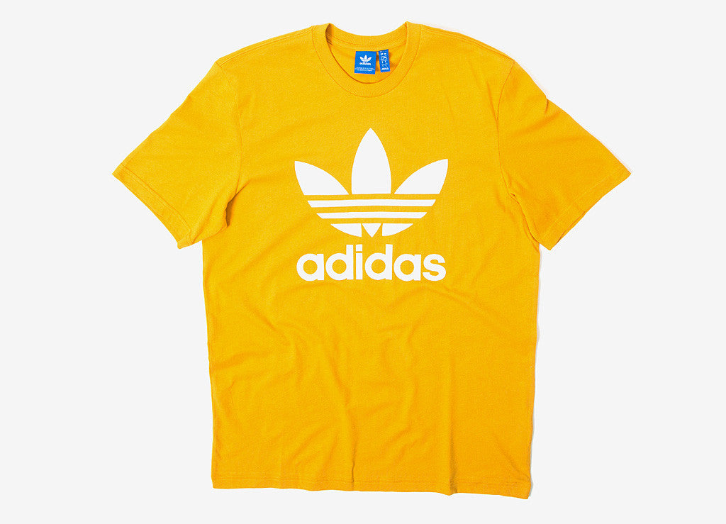 Adidas originals trefoil t shirt tactile yellow at the for Adidas lotus t shirt