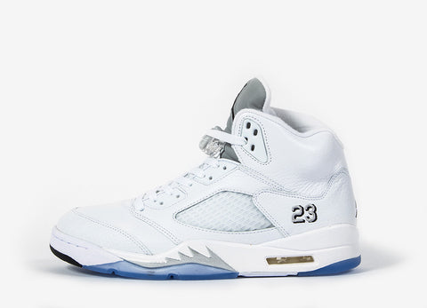 Nike Air Jordan V Retro ̝ÌÁMetallic Silver_È Shoes - White/Metallic Silver-Black