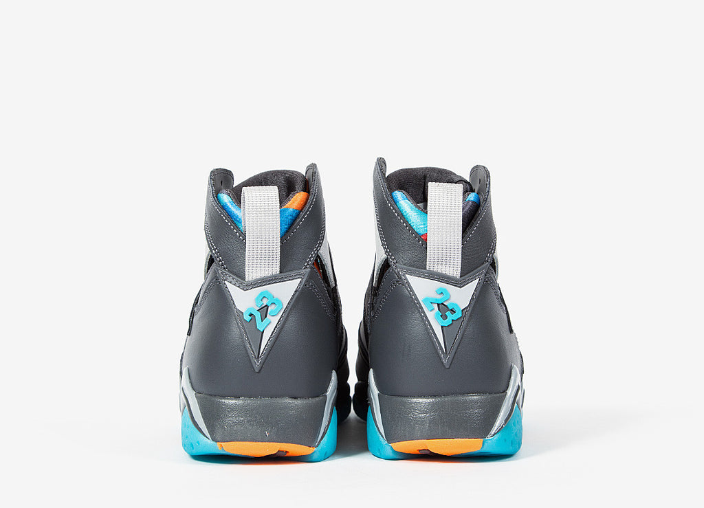 Nike Air Jordan VII Retro 'Barcelona Days' Shoes - Dark Grey/Wolf Grey/Total Orange/Turquoise Blue