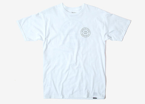 Brixton Oath T Shirt - White/Light Grey