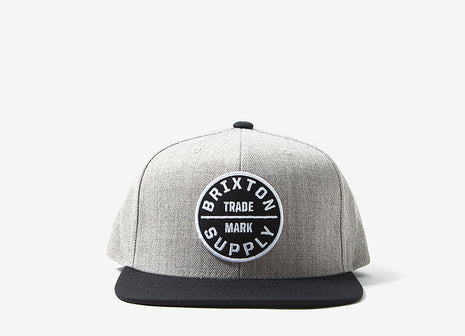 Brixton Oath III Snapback Cap - Heather Grey/Black