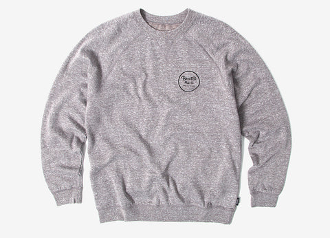 Brixton Wheeler Crewneck Sweatshirt - Heather Grey