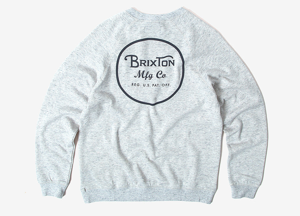 Brixton Wheeler Crewneck Sweatshirt - Heather Stone
