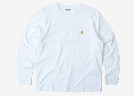 Carhartt Chase L/S T Shirt - White/Gold