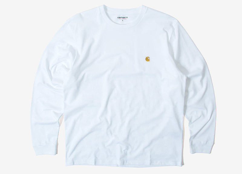 Carhartt Chase Long Sleeve T Shirt - White/Gold
