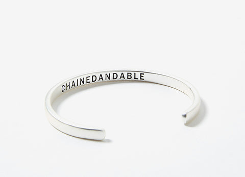 Chained & Able Matt Silver Logo Cuff Bracelet - Silver