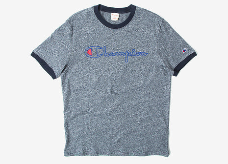 Champion Reverse Weave Ringer Script T Shirt - Heather Navy