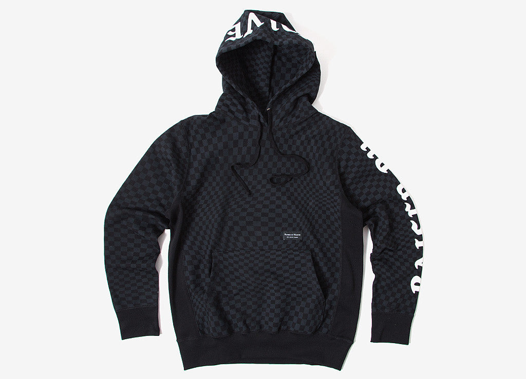 Raised By Wolves Warped Checkerboard Hooded Sweatshirt - Black