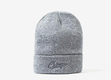 Chimp Embroidered Micro Script Beanie - Heather Grey