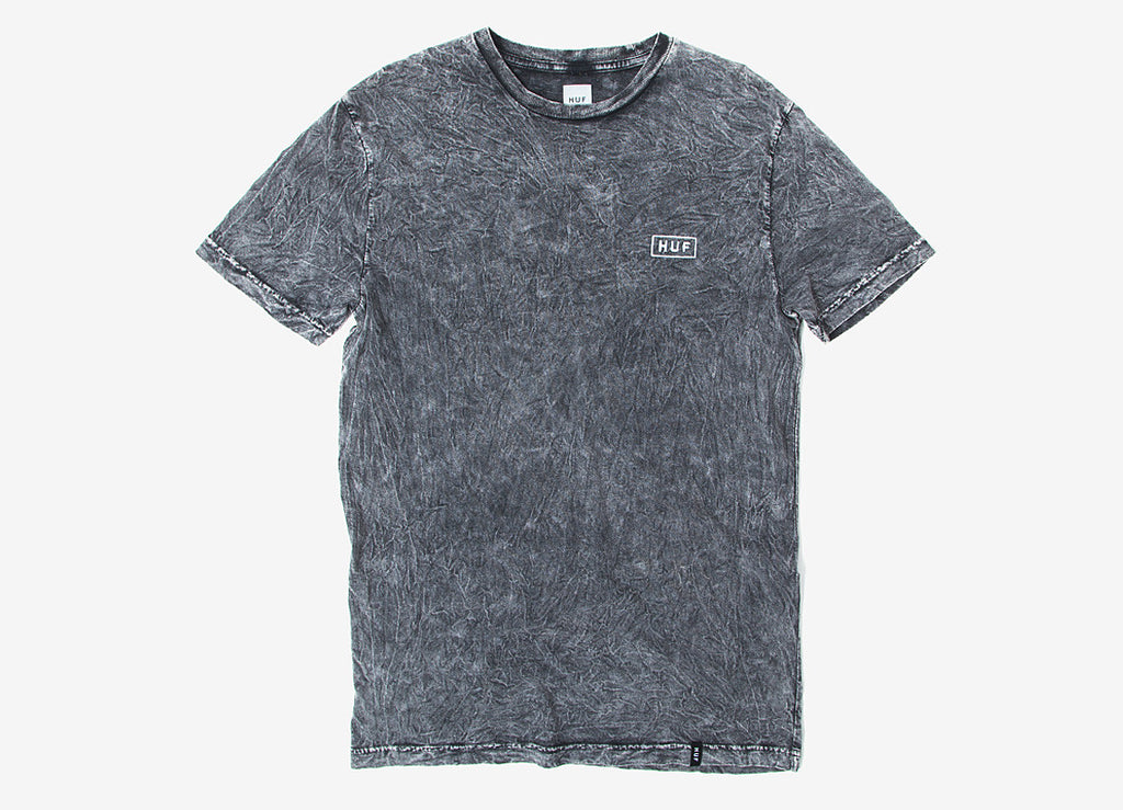 HUF Acid Wash Bar Logo T Shirt - Black