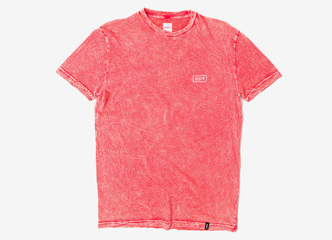 HUF Acid Wash Bar Logo T Shirt - Red