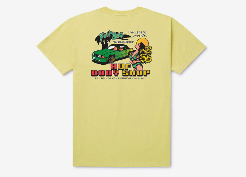 HUF Body Shop T Shirt - Sunset Yellow
