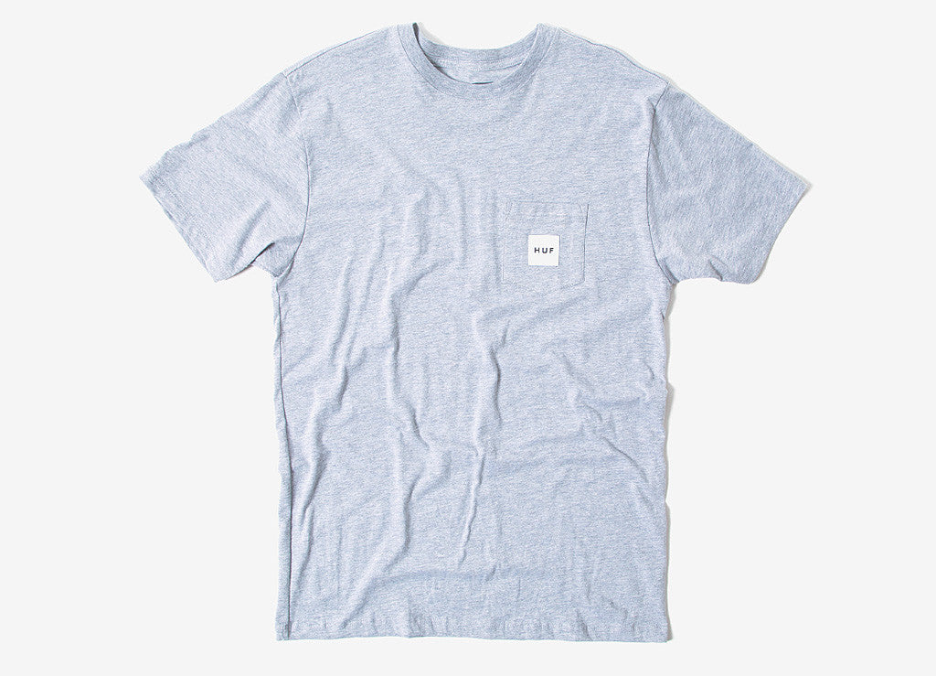 HUF Box Logo Pocket T Shirt - Heather Grey
