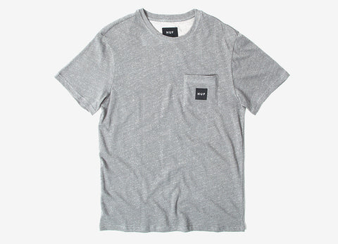 HUF Heather Box Logo Pocket T Shirt - Cool Grey