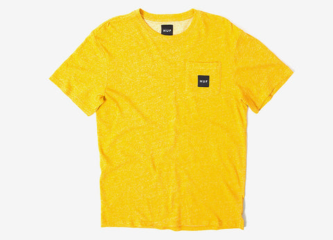 HUF Heather Box Logo Pocket T Shirt - Mustard