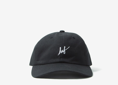 HUF Script Logo Curved Peak Dad Cap - Black/White