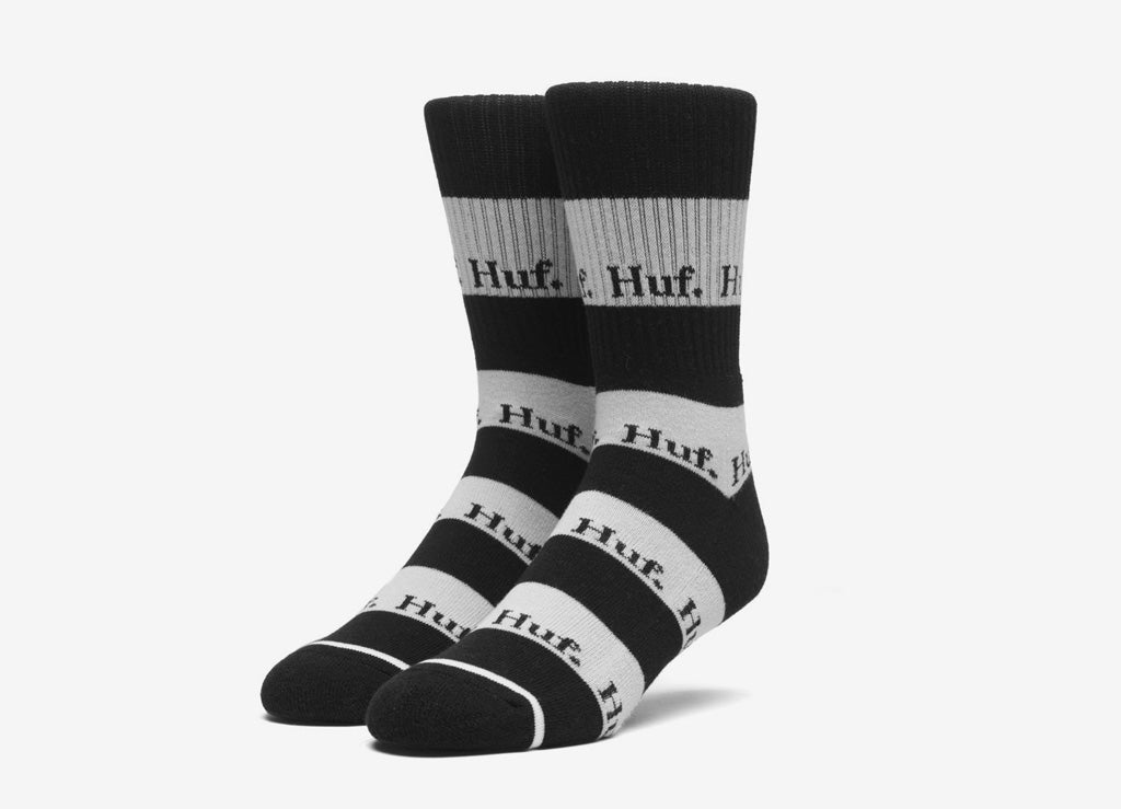 HUF Stripe Logo Crew Socks - Black