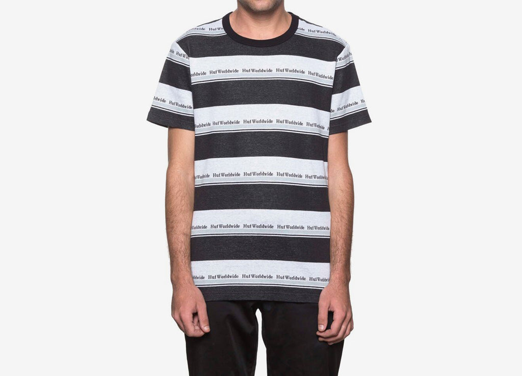 HUF Worldwide Stripe T Shirt - Black