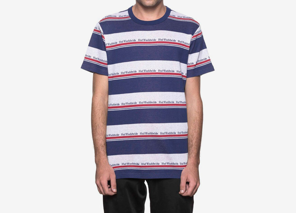 337659a804 HUF Worldwide Stripe T Shirt | Striped HUF T Shirt | HUF Tees | The Chimp  Store