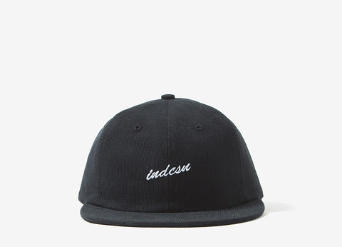 indcsn Micro Script 6 Panel Polo Cap - Black
