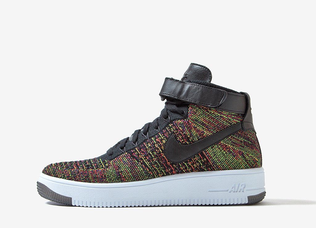 Nike Air Force 1 Ultra Flyknit Mid Shoes - Black/Bright Crimson