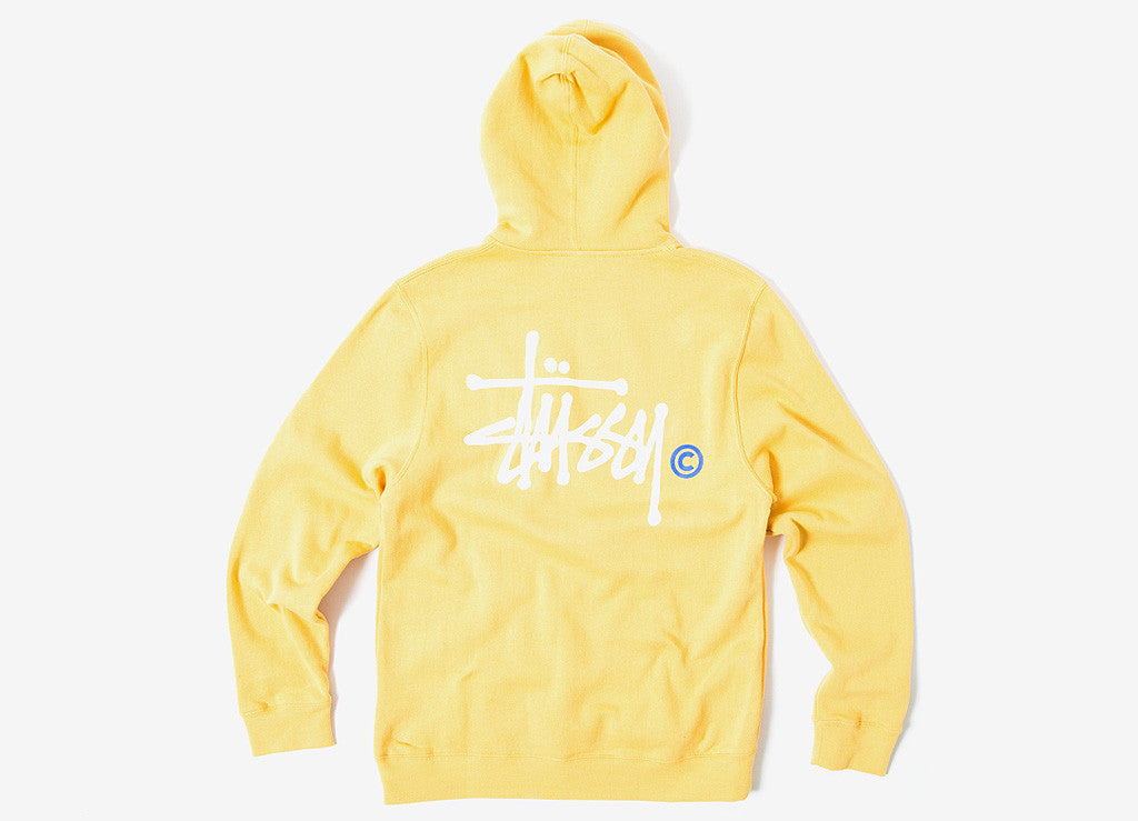 Stussy Basic Logo Pullover Hoody - Faded Yellow