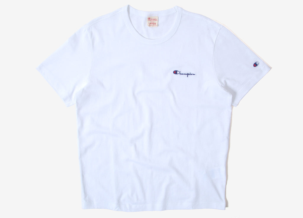Champion Reverse Weave Mini Script Logo T Shirt - White