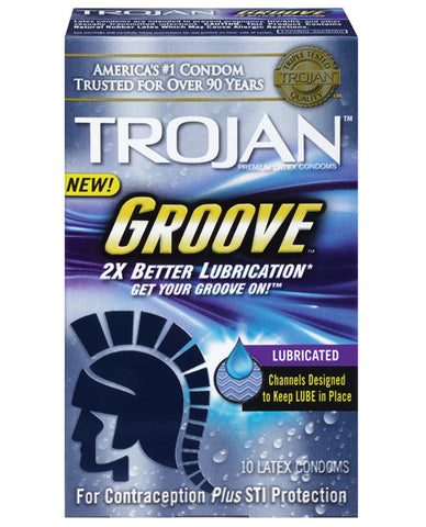 Trojan Groove Lubricated Condoms - Box Of 10
