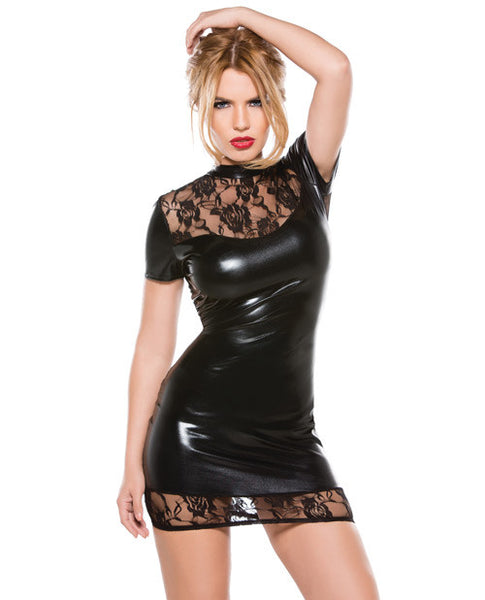 Kitten Lace & Wet Look Dress Black O-s