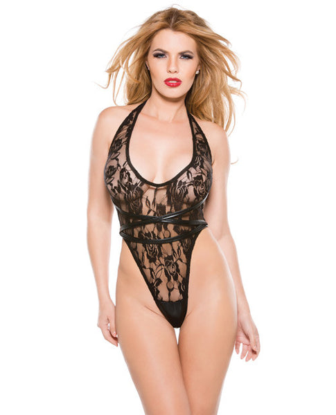 Kitten Lace & Wet Look Halter Teddy Black O-s