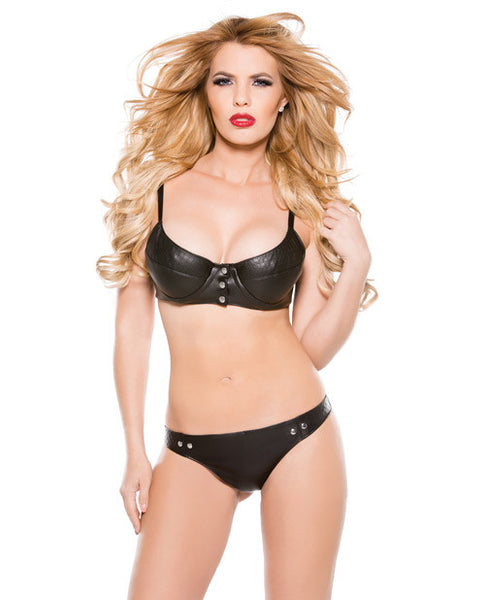 Faux Leather Snap Front Bra & Thong Set Black Sm