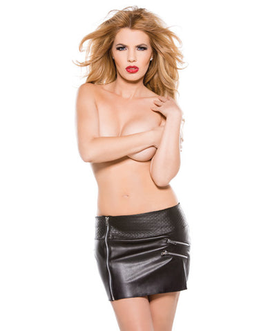 Faux Leather Zipper Skirt Black Md