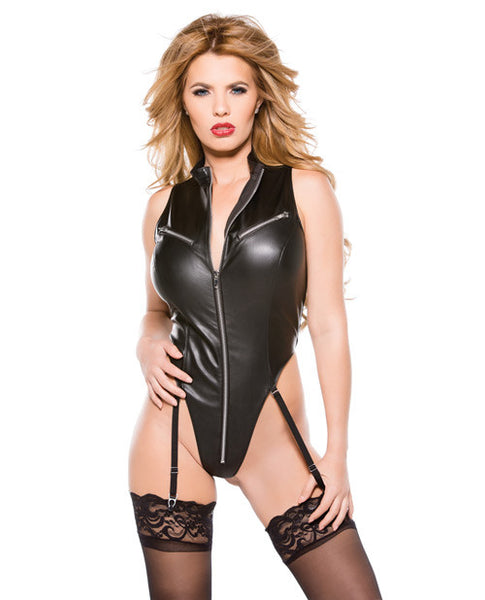 Faux Leather Teddy Black Md
