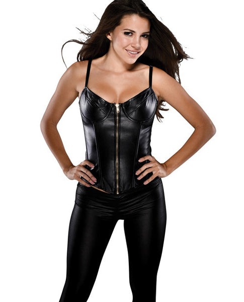 Faux Leather Corset W-adjustable Straps, Underwire Cup & Acrylic Boning Black Xl