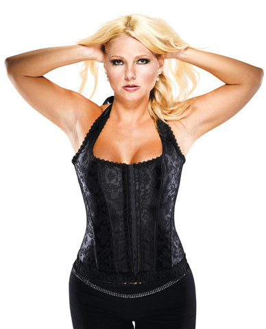 Halter Floral Print Corset W-hook & Eye Closures & Acrylic Boning Black 40