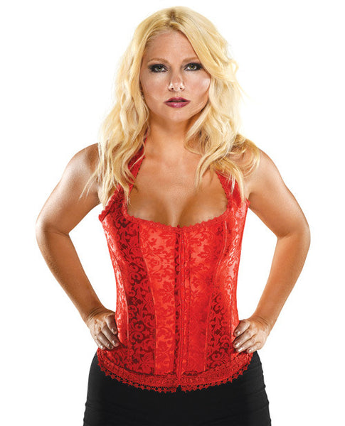 Halter Floral Print Corset W-hook & Eye Closures & Acrylic Boning Red 38