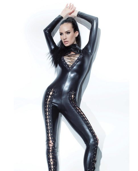 Darque Wet Look Jumpsuit W-lace Up Detail & Back Zipper Closure Black Md