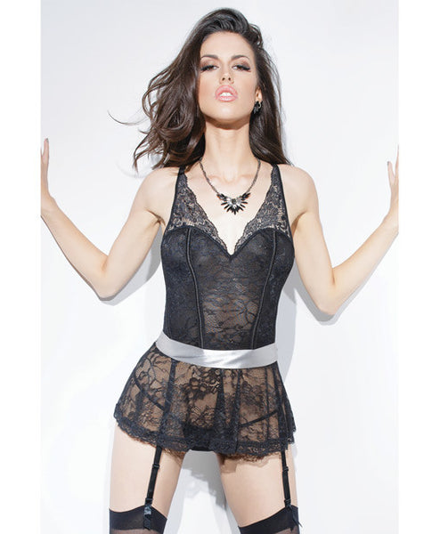 Spellbound Stretch Lace Peplum Corset W-removable Ribbon Belt & Garters Black-silver Lg