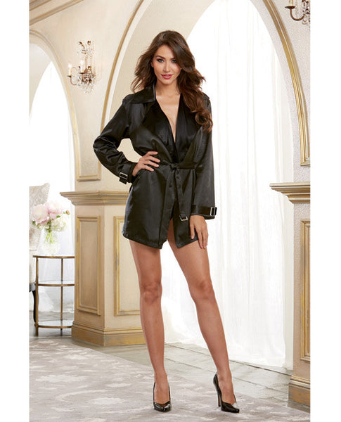 Silky Satin Charmeuse Robe W-trench Coat Styling W-attached Belt Black Xl