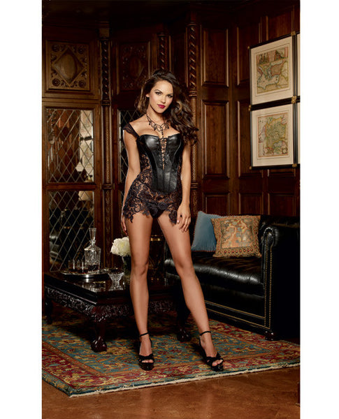 Faux Leather Venice Lace Fully Boned Corset W-hi-low Attached Skirt & Thong Black 38