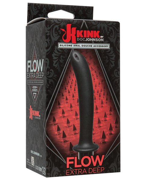 Kink Flow Silicone Anal Douche Accessory Extra Deep - Black