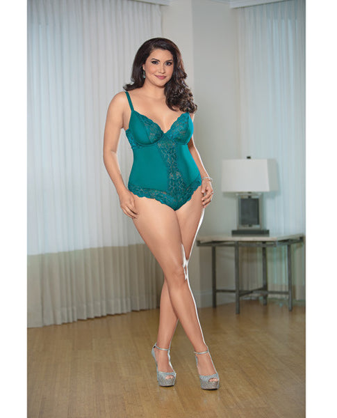 Lace Teddy W-open Back Teal 3x