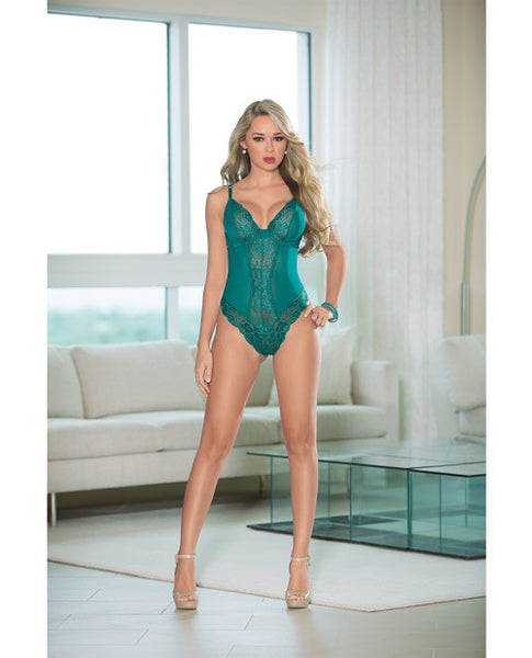 Lace Teddy W-open Back Teal Sm