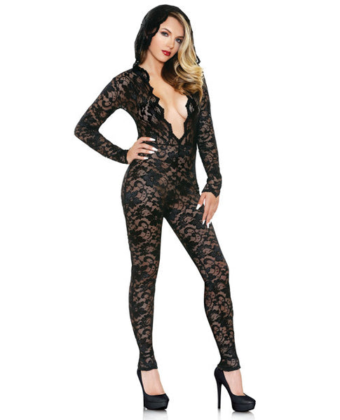 Mia Lace Hood Jumpsuit Black S-m