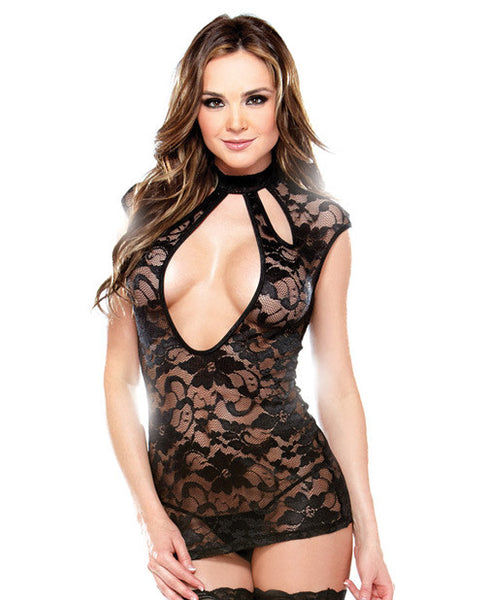 Tease Intricate Cutout Lace Dress W-high Neck Collar Black O-s