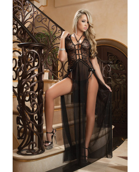 Sheer & Lace Gown W-double Front Slit W-straps & Thong Black O-s