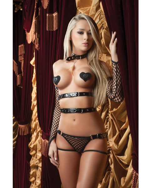 Xrated One Piece Vinyl Teddy W-adjustable Straps, Tickle Feather, Gloves & Pasties Blk O-s