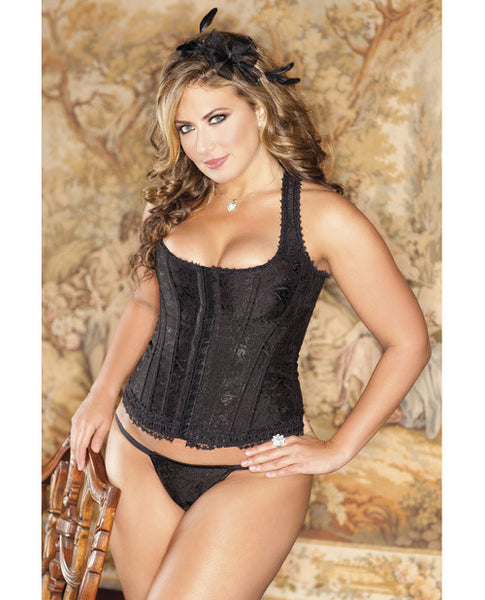 Brocade Racerback Corset W-hook & Eye Closure, Adjustable Lace-up Back & G-string Black 40