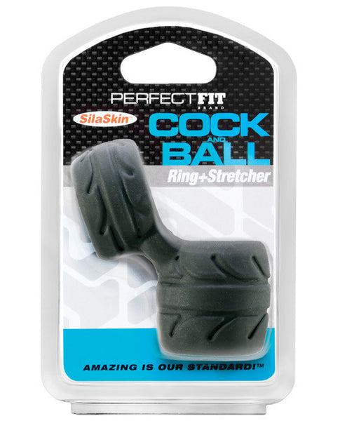 New Perfect Fit Silaskin Cock And Ball Ring - Black